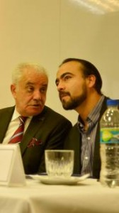 Attorney General Galo Chiriboga (left) and the Director of the Commission of Truth and Human Rights of the Prosecution Fidel Jaramillo (right).