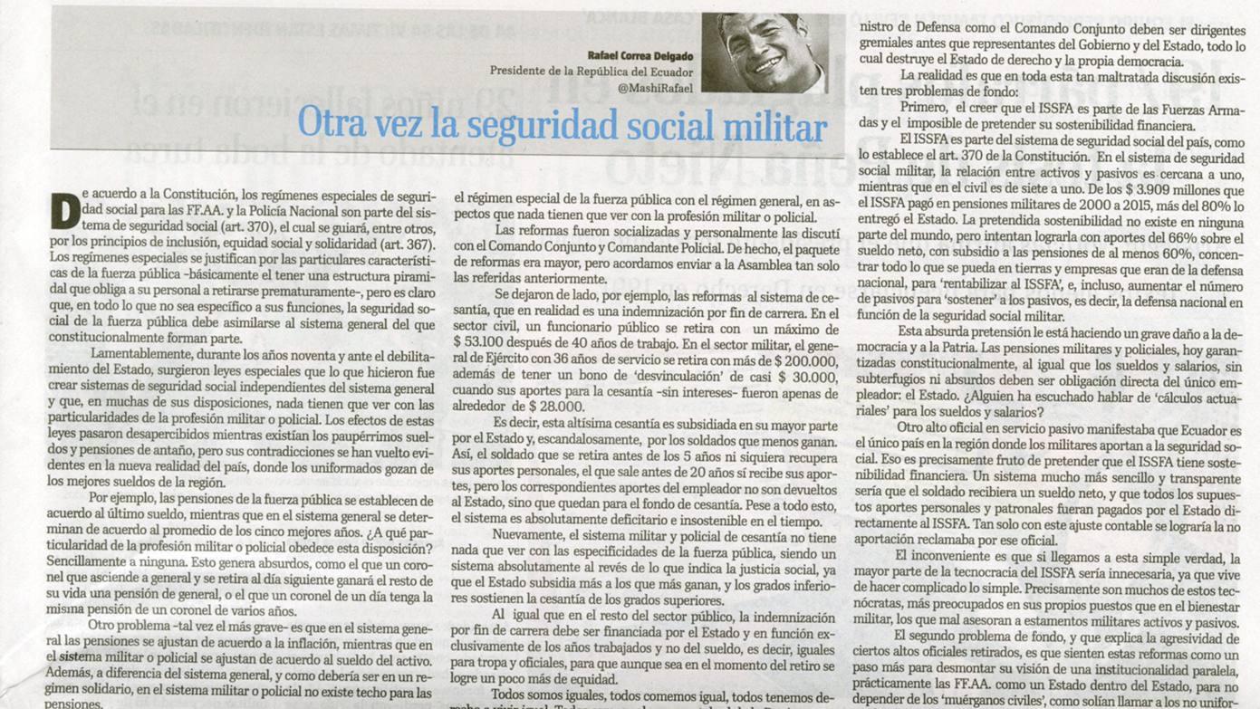 REFORMA MILITAR-ECUADORTIMES