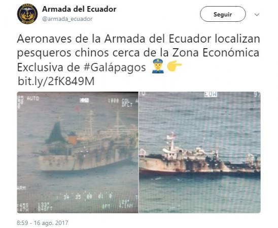 The Navy spots about 100 Chinese fishing vessels in around the Galapagos Islands