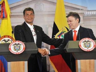 Rafael Correa y Juan Manuel Santos