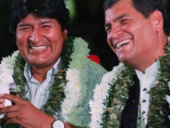 Evo Morales and Rafael Correa