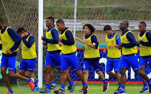 Ecuadorian soccer team trains for its match against Uruguay