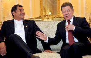 Rafael Correa and Juan Manuel Santos