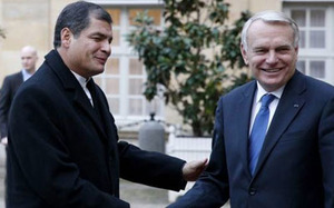 Rafael Correa and the French primer ministro, Jean Marc-Ayrault