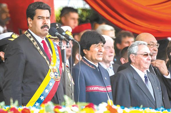 Nicolas Maduro next to other presidents during the anniversary ceremony of Hugo Chavez's death.