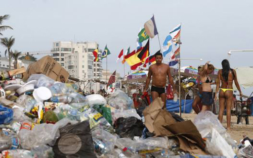 Piles of garbage in Rio de Janeiro's beaches.