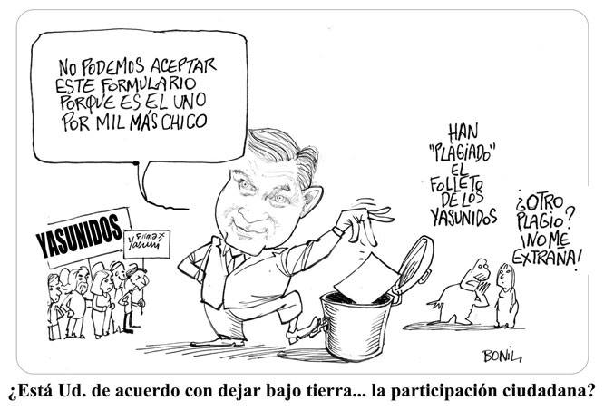 Famous cartoonist Bonil illustrates the Government's abuses on Yasuní issues.