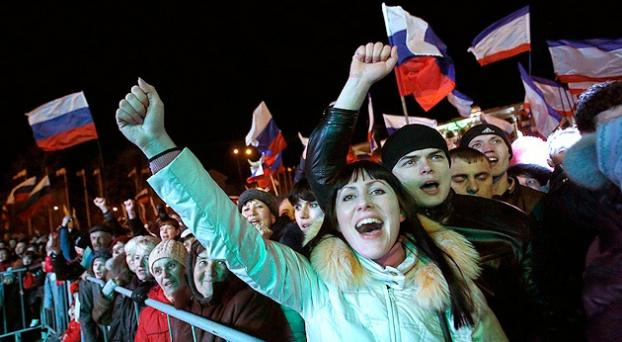 Crimean Russian speakers celebrating in Crimea over the results.