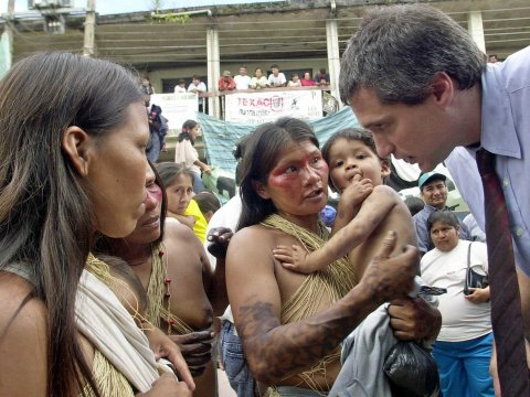 Donziger represents villagers in Ecuador who say that Texaco (now part of Chevron) sickened them by polluting the rain forest for decades.