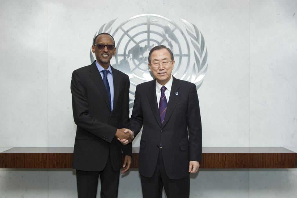 Secretary-General Ban Ki-moon (right) meets with President Paul Kagame of Rwanda.
