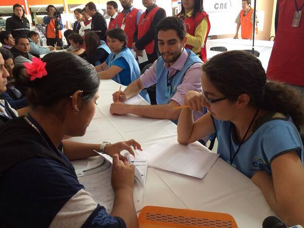 Members of the CNE verifying signatures from YASunidos.