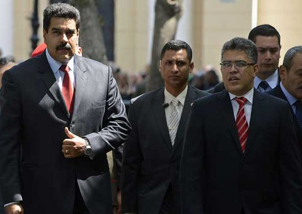 Nicolas Maduro (left) along with some members of his cabinet.