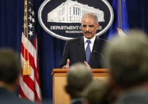 The U.S. Attorney General Eric Holder addresses the media on Tuesday in Washington. JONATHAN ERNST | REUTERS