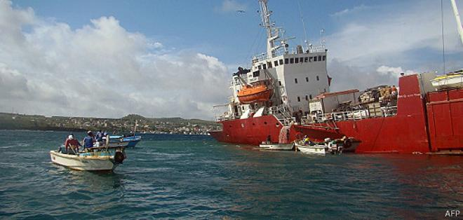 Stranded ship threatens environmental safety in the Galapagos Islands.