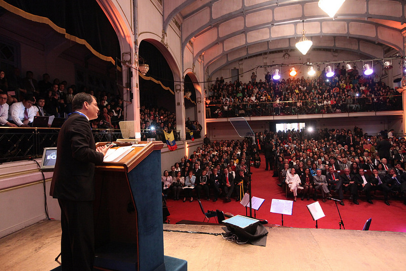 Ecuadorian President Rafael Correa during a speech at the University of Santiago de Chile (USACH).