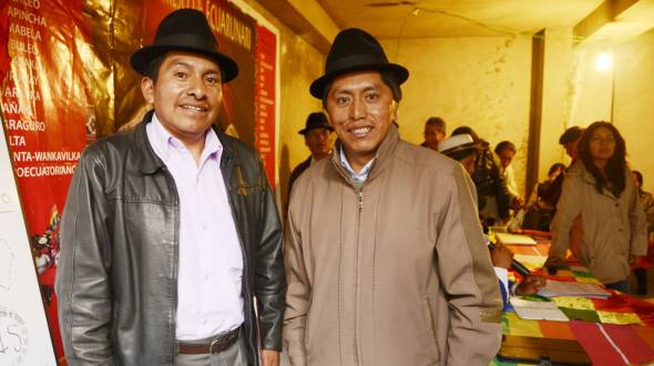 Single candidate from the indigenous of the Highlands Jorge Herrera (left), next to current Conaie President Humberto Cholango.