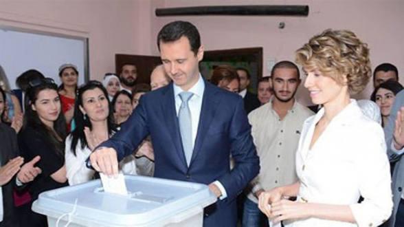 Bashar al-Assad voted along with his wife, Asma.