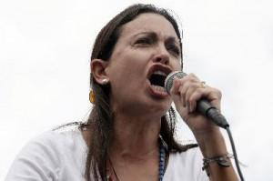 Venezuelan opposition leader Maria Corina Machado gives a speech duri