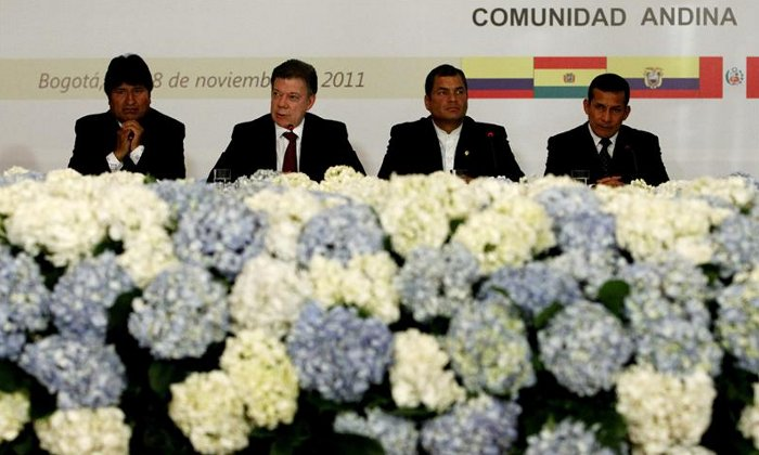 Presidents of the Andean Community of Nations (CAN), from left to right, of Bolivia, Evo Morales; of Colombia, Juan Manuel Santos; of Ecuador, Rafael Correa, and Peru, Ollanta Humala.