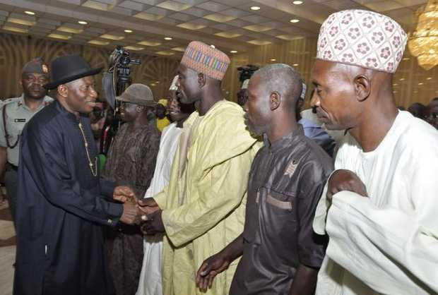 President Goodluck Jonathan met Tuesday with parents of the 219 kidnapped Nigerian schoolgirls and some classmates who managed to escape from Islamic extremists.