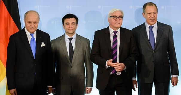 Ministers of Foreign Affairs from France Laurent Fabius , Ukraine, Pavlo Klimkin, Germany, Frank-Walter Steinmeier, and Russia, Sergei Lavrov.