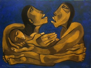 'Humanity' is the name of oil on canvas (90 x 120 cm) that made the Ecuadorian painter Pavel Egüez and was delivered to Pope Francis, representatives of social movements.