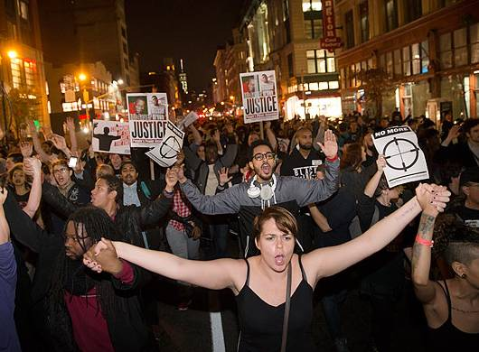 Protesters on the streets of New York. AP