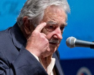 Uruguay President Jose Mujica addresses an audience May 13
