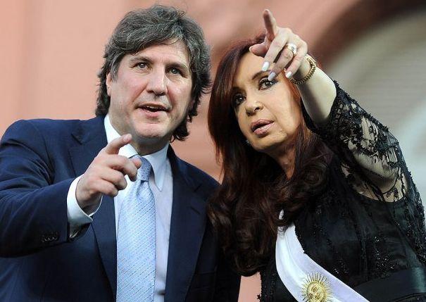 The Argentine Vice President Amado Boudou alongside President Cristina Fernández.