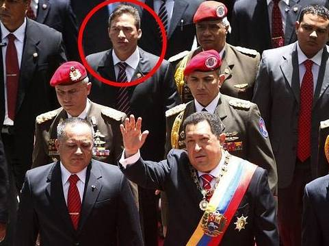 Leamsy Salazar, in the third row (behind Diosdado Cabello and Hugo Chavez), on the day of Independence of Venezuela in 2012. EFE