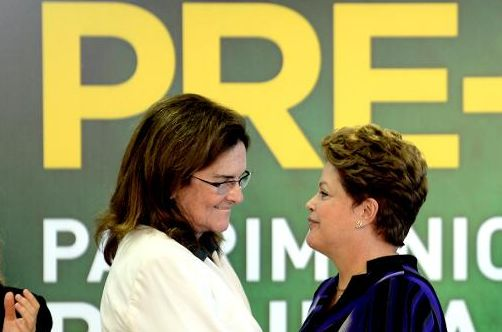 The president of the Brazilian company Petrobras, Graca Foster with President Dilma Rousseff. AFP