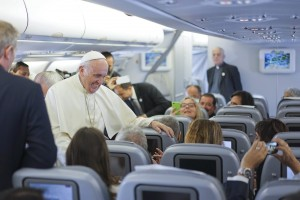Pope Francis meets journalists aboard the plane heading to Quito, Ecuador, 05 July 2015. Pope Francis will visit Ecuador, Bolivia and Paraguay, from 05 to 12 July 2015. (Papa) EFE/EPA/CIRO FUSCO