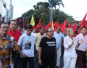 Political leader Alvaro Noboa during a march against government measures.